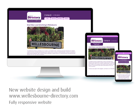 Silver Lining Graphics graphic showing Wellesbourne Directory website on desktop, tablet and mobile devices